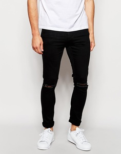 Черные рваные джинсы скинни Only & Sons - Черный