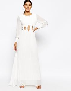 Платье макси с длмнными рукавами и вырезами на талии True Decadence - Кремовый