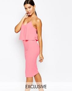 Платье миди с перекрещивающимися на спине бретелями Club L - Розовый