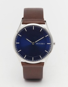 Наручные часы с кожаным коричневым ремешком Skagen Holst SKW6237 - Коричневый