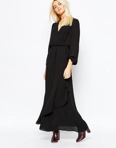 Платье с запахом спереди Monki - Черный