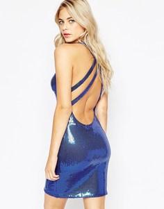 Платье мини со скрещенными сзади бретельками и пайетками City Goddess - Синий