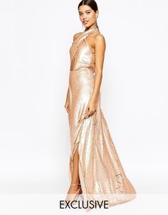 2‑цветное платье макси с пайетками Club L Showstopper