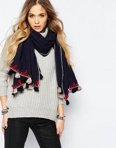 Oversize-шарф с кисточками BL^NK - Темно-синий Blank