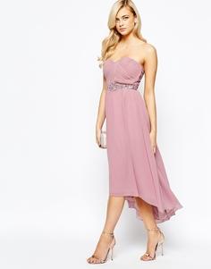 Платье-бандо макси с плиссировкой Little Mistress - Пыльно-розовый