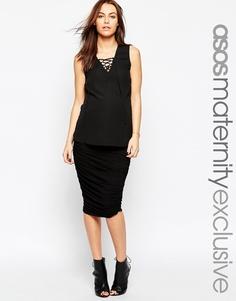 Присборенная облегающая юбка для беременных ASOS Maternity - Черный