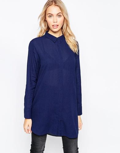 Oversize-рубашка цвета индиго MiH - Indigo - индиго