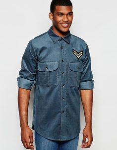 Вельветовая рубашка с нашивкой в стиле милитари Reclaimed Vintage - Темно-синий