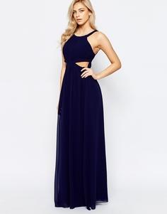 Шифоновое платье макси с вырезами Little Mistress - Темно-синий