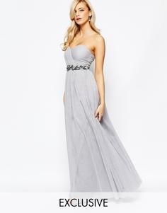 Платье-бандо макси с отделкой и юбкой из тюля Little Mistress - Серый