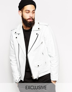 Байкерская кожаная куртка Reclaimed Vintage - Белый