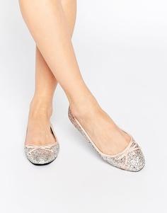 Блестящие серебристые балетки с квадратным носком Faith Gladys - Silver glitter