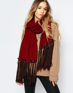 Oversize-шарф с кисточками BL^NK - Burgundy Blank