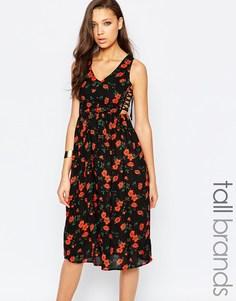 Платье миди с цветочным принтом и завязками по бокам Glamorous Tall - Черный