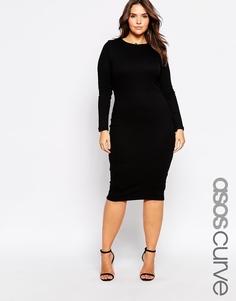 Облегающее платье миди ASOS CURVE - Черный