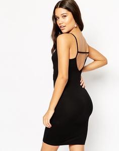 Облегающее платье мини с запахом спереди и лямками сзади ASOS - Черный