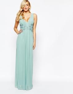 Платье макси с кружевом на талии Little Mistress - Зеленый шалфей