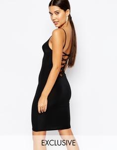 Облегающее платье мини с решетчатой отделкой сзади Club L - Черный