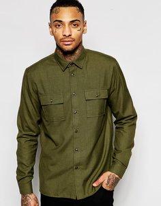 Рубашка цвета хаки в стиле милитари с двумя карманами ASOS - Хаки