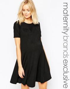 Свободное платье для беременных с вырезом сердечком и сетчатой вставкой Bluebelle Maternity - Черный