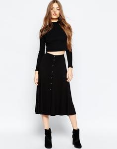 Расклешенная юбка миди с кнопками ASOS - Черный