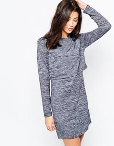 Трикотажное платье с длинными рукавами и перекрестной спинкой Brave Soul - Темно-синий