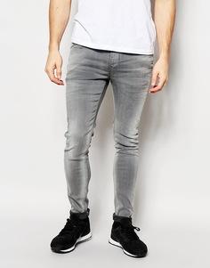 Серые облегающие джинсы Pepe Jeans Powerflex Nickel - Выбеленный серый