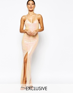 Платье с пайетками и перекрестной спинкой NaaNaa - Переливающийся телесный