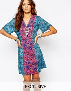 Чайное платье с винтажным принтом Milk It - Мульти