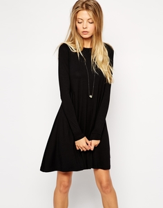 Свободное платье с длинными рукавами и акцентными швами ASOS - Черный