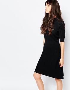 Трикотажное платье в винтажном стиле Fred Perry - Черный