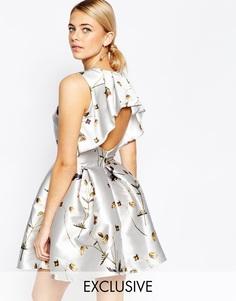 Атласное платье мини с цветочным принтом Hope and Ivy - Серый сатиновый мульти