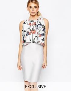 Платье миди 2 в 1 с принтом Hope and Ivy - Белый с разноцветным узором