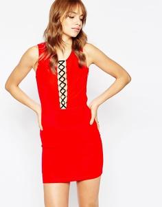 Платье со шнуровкой спереди Wyldr Chicago - Красный
