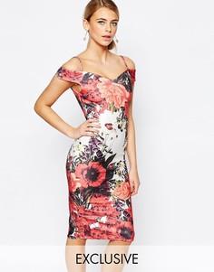 Платье-футляр с открытыми плечами и блочным цветочным принтом Hope and Ivy - Красный многоцветный принт