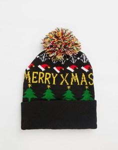 Рождественская шапка с помпоном 7X - Синий