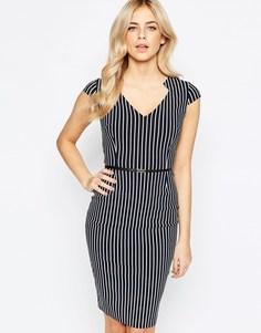 Платье-футляр в полоску с поясом Vesper - Черно-белый