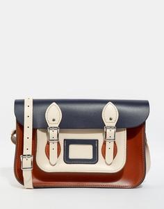 Сумка сэтчел в стиле колор блок The Leather Satchel Company 12.5 - Рыжий