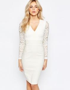 Кружевное платье-футляр 2 в 1 с длинными рукавами Vesper - Кремовый