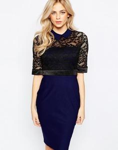 Кружевное платье-футляр с рукавами 3/4 и воротником Vesper