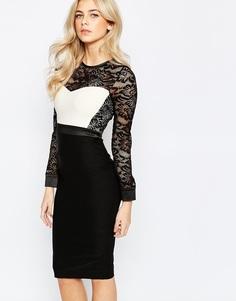 Платье-футляр 2-в-1 с кружевным лифом и контрастными вставками Vesper