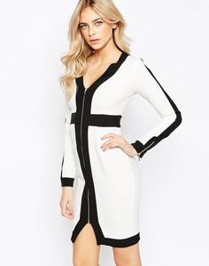 Платье-футляр с контрастными вставками и молниями Vesper