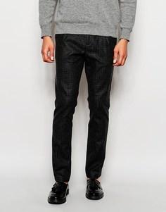 Твидовые брюки слим Sisley - Черный