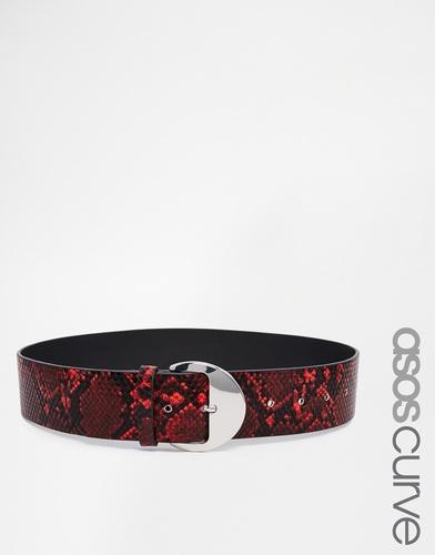 Красный ремень со змеиным принтом и круглой пряжкой ASOS CURVE - Красный