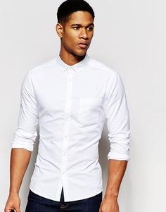 Белая зауженная оксфордская рубашка с длинными рукавами ASOS - Белый