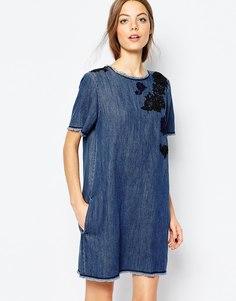 Джинсовое платье мини с вышивкой Sportmax Code - 002 midnight blue
