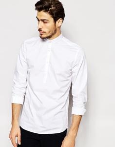 Зауженная рубашка с короткой планкой и воротником на пуговицах Noak - Белый