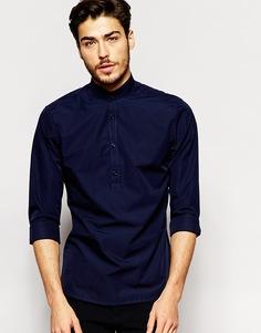 Зауженная рубашка с короткой планкой и воротником на пуговицах Noak - Темно-синий