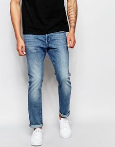 Светлые состаренные узкие джинсы стретч G-Star 3301 - C легким эффектом состаренности
