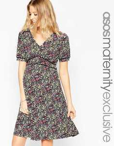 Короткое приталенное платье с окантовкой и цветочным принтом ASOS Maternity - Цветочный